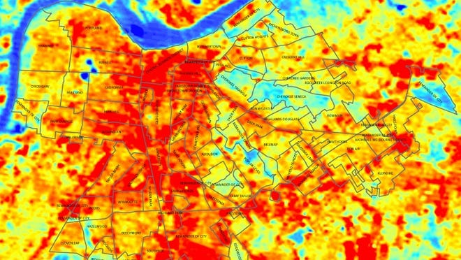 Louisville heat map