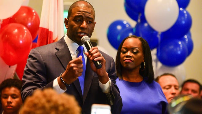 With his family and closest supporters by his side, Tallahassee mayor Andrew Gillum secured the Democratic nomination for the govenor of Florida on Tuesday after a close race between him and party rival Gwen Graham.