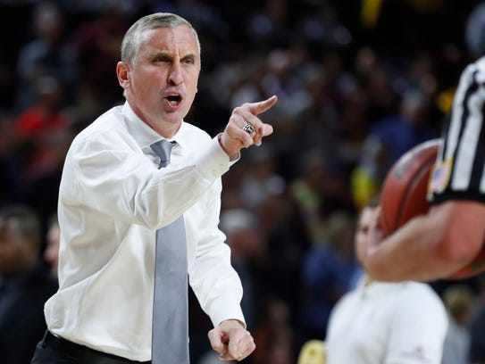 Bobby Hurley yells at an official during ASU's game against Utah in Tempe in January.