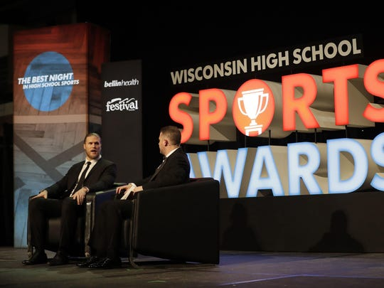 Green Bay Packers linebacker Clay Matthews talks with Brett Christopherson, a multimedia specialist with USA TODAY NETWORK-Wisconsin, during the second annual Wisconsin High School Sports Awards at the Lambeau Field Atrium in Green Bay.
