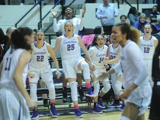 ACU's bench reacts after Sara Williamson's basket gave the Wildcats a 55-54 lead with nine seconds left in their game against Incarnate Word. She also was fouled on the play and hit a free throw. Williamson also hit the game-winning basket with one second remaining in her team's 58-56 victory Saturday, Feb. 10, 2018 at Moody Coliseum.