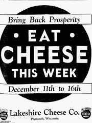 Lakeshire Cheese Ad- 1933.