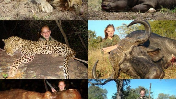 A young Kendall Jones poses with the several animals she killed on a big game hunting trip to Africa.