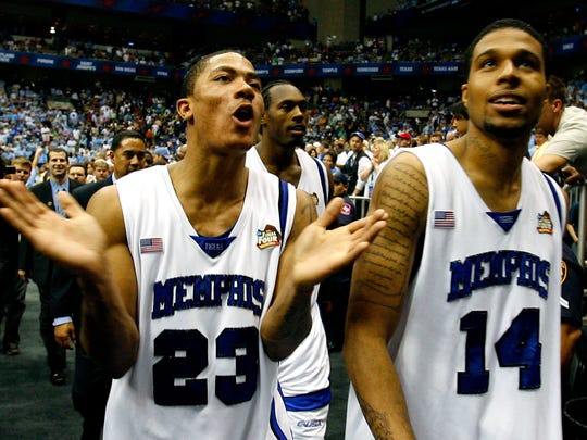 April 5, 2008 - Memphis' Derrick Rose and Chris Douglas-Roberts celebrates the Tiger's 78-83 victory over UCLA to advance to the NCAA Finals.