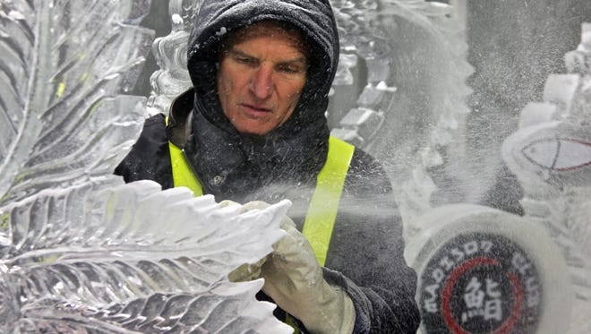 Ice sculptor Timm Bennett works on a project at the C.V. Ice Company in Indio on Monday, Nov. 23, 2015. Bennett has produced works of art in ice for over 20 years.