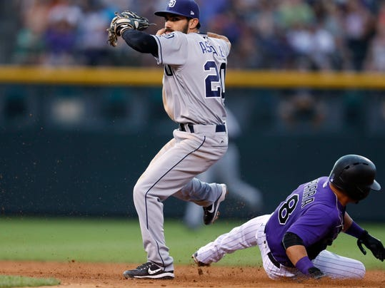 San Diego Padres second baseman Carlos Asuaje, left, throws to first base after the out on Colorado Rockies' Gerardo Parra at second base on the front end of a double play hit into by Mark Reynolds to end the fourth inning of a baseball game Monday, July 17, 2017, in Denver. The Rockies won 9-6. (AP Photo/David Zalubowski)