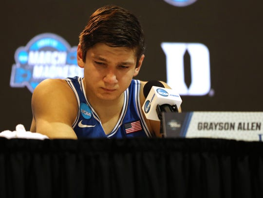 A sad Duke guard Grayson Allen reflects on the end