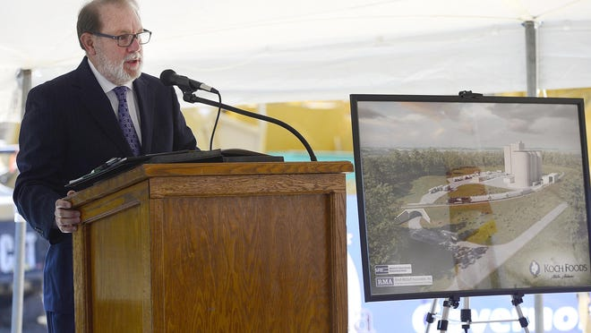 Gadsden-Etowah County IDA Executive Director David Hooks is pictured in a file photo from the groundbreaking on a $55 million Koch Foods expansion in Attalla on Nov. 5, 2019. The growth of existing industries is still a part of local economic development, but the IDA is also focusing on healthcare.