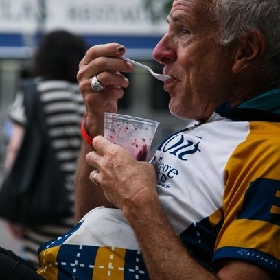 Rick Brooks, 67, of Princeton, Ill., enjoys breakfast