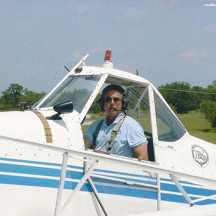 Donnie Tomasson pictured in a Piper Pawnee PA-25 used to tow gliders. Converted AG/Spray aircraft.