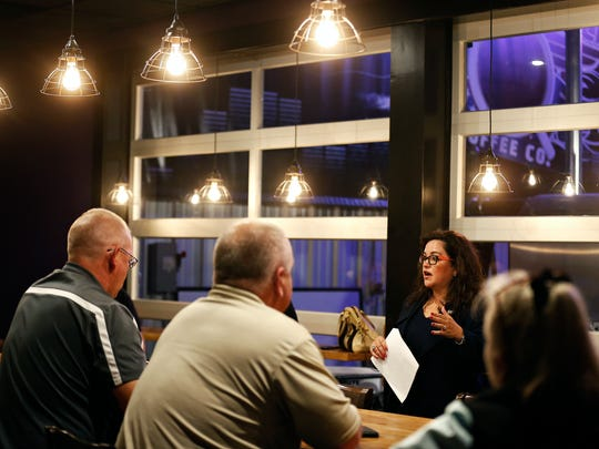 "Springfield City Council member Kristi Fulnecky speaks to attendees during one of her ""listening tour"" sessions at Classic Rock Cafe in Springfield, Mo. on Oct. 25, 2016."