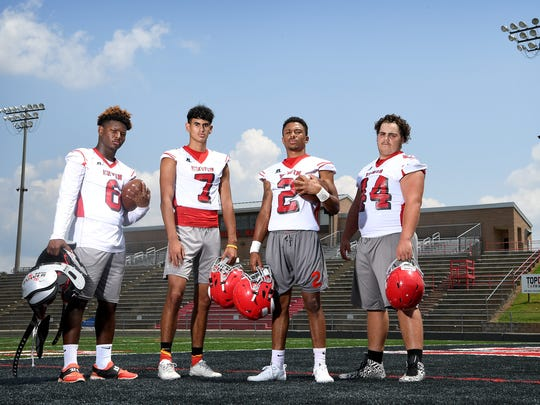 Erwin High School's returning all-conference seniors are, from left: Isaiah Poore, Bryan Anuel, Trey Martin and Ethan Lunsford.