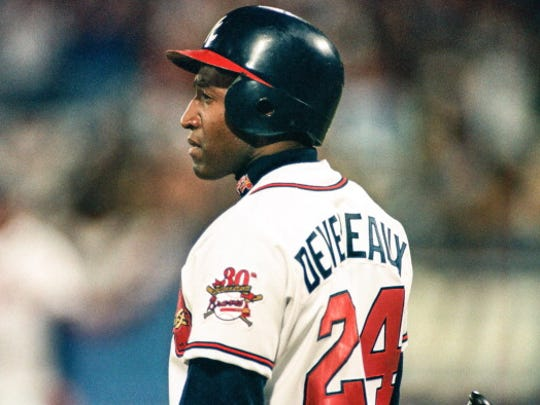 ATLANTA, GA - OCTOBER 21:  Mike Devereaux of the Atlanta Braves during Game One of the World Series against the Cleveland Indians on October 21, 1995 at Atlanta-Fulton County Stadium in Atlanta, Georgia. (Photo by Sporting News via Getty Images)