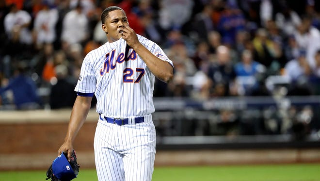 New York Mets relief pitcher Jeurys Familia reacts during the ninth inning against the San Francisco Giants in the National League wild-card game at Citi Field.