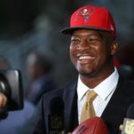 Jameis Winston speaks with the media after being drafted No. 1 overall by the Buccaneers on April 30.