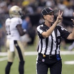 Sarah Thomas hopes to become a permanent official for the NFL?s 2015 season. Chuck Cook/USA TODAY Sports Oct 26, 2013; Hattiesburg, MS, USA; C-USA official Sarah Thomas signals a touchdown by the North Texas Mean Green in the second half of their game against the Southern Miss Golden Eagles at M.M. Roberts Stadium. North Texas won, 55-14. Mandatory Credit: Chuck Cook-USA TODAY Sports