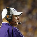 Nov 28, 2015; Baton Rouge, LA, USA; LSU Tigers head coach Les Miles watches from the sideline during the second half at Tiger Stadium. LSU defeated Texas A&M Aggies 19-7. Mandatory Credit: Crystal LoGiudice-USA TODAY Sports