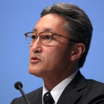 Sony President Kazuo Hirai speaks during a press conference at the company's headquarters in Tokyo, Wednesday, Sept. 17, 2014.