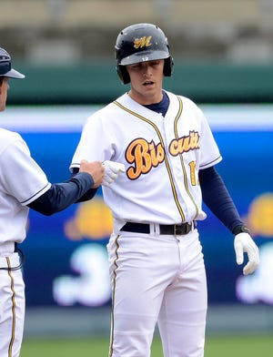 Biscuits third baseman Richie Shaffer hit a first-inning RBI triple in Wednesday's loss to Huntsville.