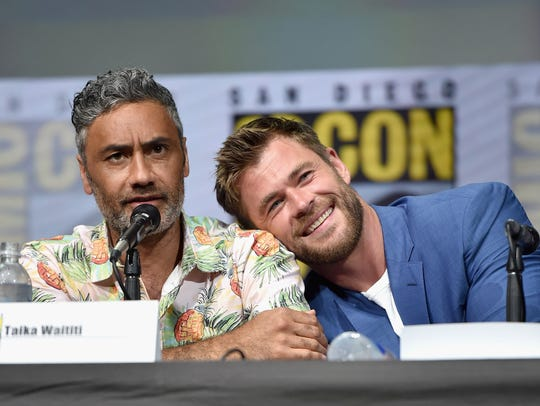 Taika Waititi (L) and actor Chris Hemsworth from Marvel