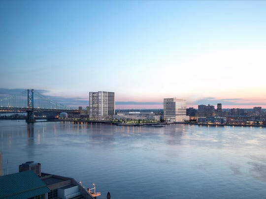 A rendering shows a Philadelphia view of the Liberty Property Trust project along the Camden Waterfront.