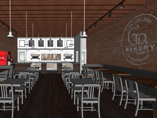 This is a rendering of GB Bakery that will sit, with Genna Benna restaurant,  between Green Floral and Cobo's Boutique in downtown Brandon.