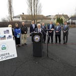 Rep. Bill Pascrell speaks at a news conference at the former industrial site in Garfield, , Monday. Some New Jersey congressmen want to revive a tax to pay for cleaning up polluted sites. (Amy Newman/The Record of Bergen County via AP) ONLINE OUT; MAGS OUT; TV OUT; INTERNET OUT; NO ARCHIVING; MANDATORY CREDIT