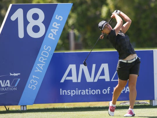 Karine Icher tees off on the 18th hole at the ANA Inspiration in Rancho Mirage, March 30, 2017.