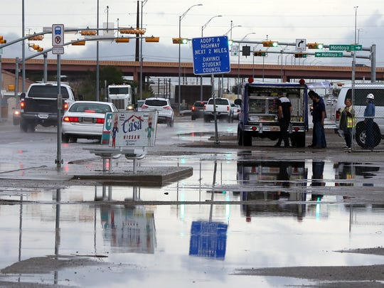 There was standing water along Doniphan Drive near the Artcraft Road overpass in West El Paso during morning rains in September.