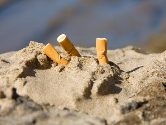 three cigarette butts