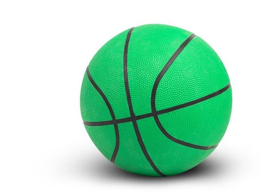 Green basketball on white background include path