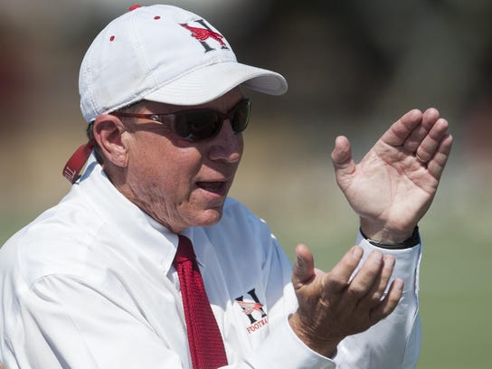 Huntingdon coach Mike Turk against LaGrange at the