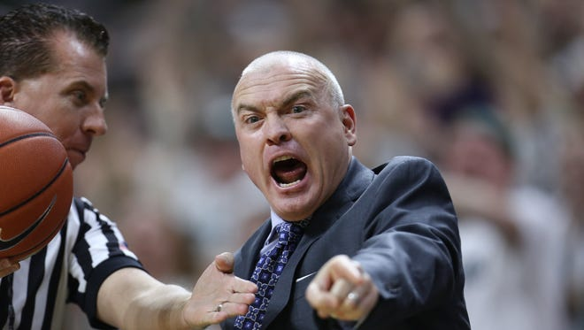 Penn State head coach Patrick Chambers reacts during the game against Michigan State on Wednesday at Breslin Center.