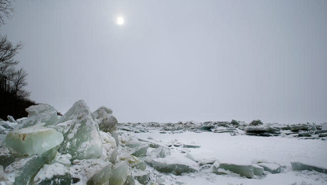 Ice shoves are visible along the shore of Lake Winnebago at Calumet County Park on Jan. 4, 2015.
