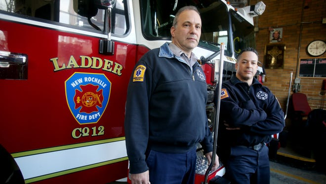 New Rochelle Fire Lt. Joseph Narciso, left, and Firefighter Hugo Perez at the firehouse on Webster Avenue.