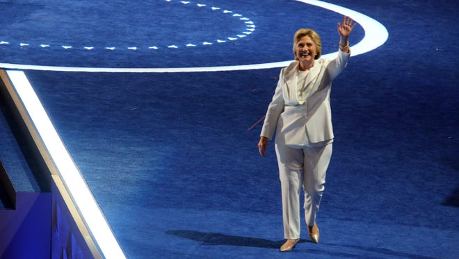 Hillary Clinton acknowledges the crowd before speaking during the final session of the Democratic National Convention at the Wells Fargo Arena in Philadelphia July 28 2016.