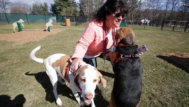 Maria Janelli-Molder of Stony Point pets her dog Dillon and Chloe at the Stony Point Patriot Paws Dog Park on Mar. 8, 2017.