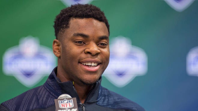 Auburn Tigers strong safety Rudy Ford was selected by the Arizona Cardinals in the sixth round after the team traded both of their seventh round picks to Oakland, April 29, 2017. Ford speaks to the media during the 2017 combine at Indiana Convention Center.
