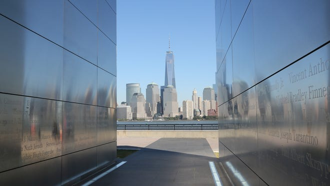 The Freedom Tower as seen from the Empty Sky New Jersey September 11 Memorial at Liberty State Park.