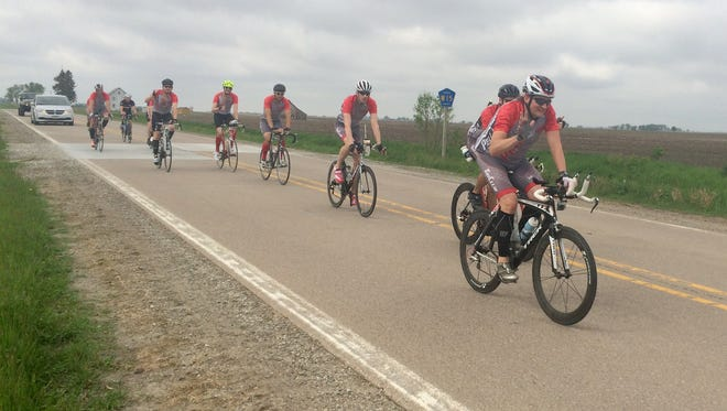 Eleven riders push through the across state ride AFRAID on Saturday afternoon. The ride started at the border of Missouri, going through the eastern portion of the state to the Minnesota border.