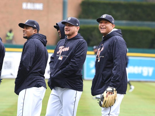 Tigers first baseman Miguel Cabrera finds something