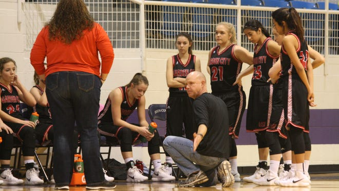 Garden City head basketball coach Joe Crabb instructs his team during action against Rocksprings in a Class 1A girls warmup game Friday, Feb. 9, 2018, at Irion County's Estes Gym in Mertzon.
