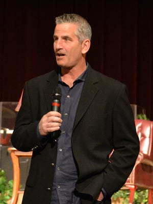 Lebanon native and Philadelphia Eagles offensive coordinator Frank Reich speaks at the Lebanon Area Evangelical Free Church in Jonestown on Friday evening.