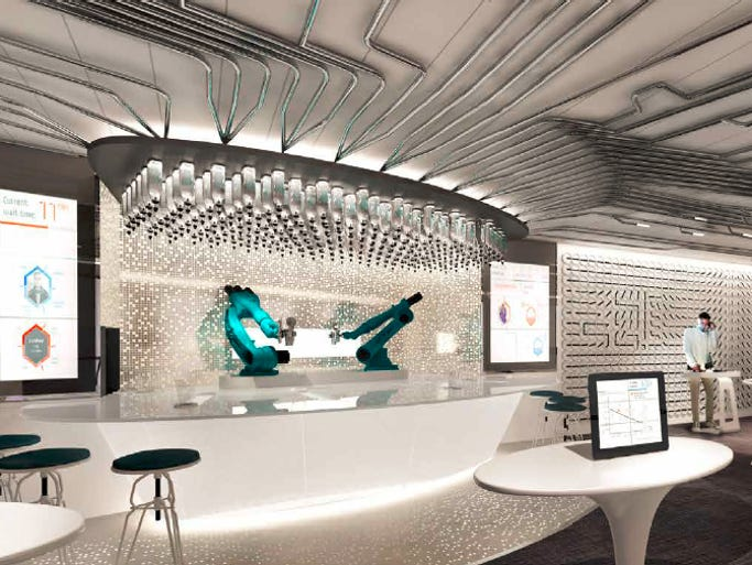 Shown here in an artist's drawing, the Bionic Bar on Royal Caribbean's Quantum of the Seas will feature a robot bartender.