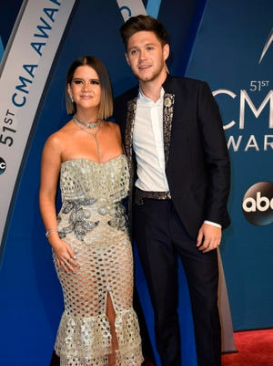Maren Morris and Niall Horan on the red carpet at Music City Center before the start of the 51st annual CMA Awards Wednesday, Nov. 8, 2017 in Nashville, Tenn.