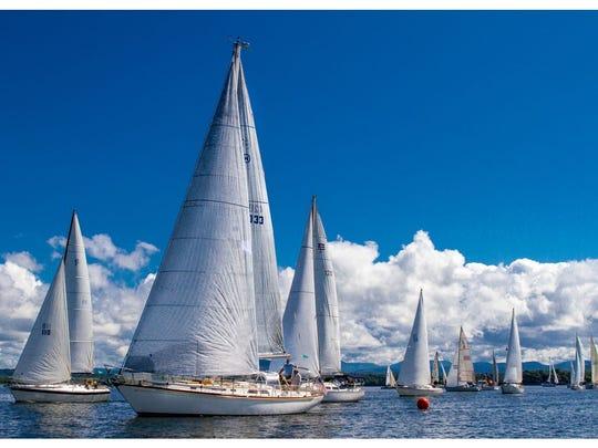 The 'jib and main' fleet starts during the Diamond Island Regatta on August 23.
