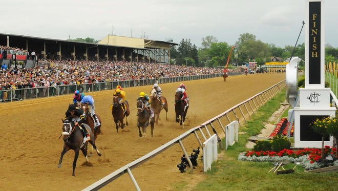 Gary Stevens aboard Oxbow leads the pack heading into the first turn en route to a 2013 Preakness victory.