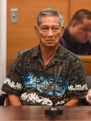 Former mayor of Mangilao, Nito Blas, left, appears before Superior Court of Guam Judge Michael Bordallo at the Guam Judicial Center in Hagåtña on Thursday, Jan. 5, 2017.