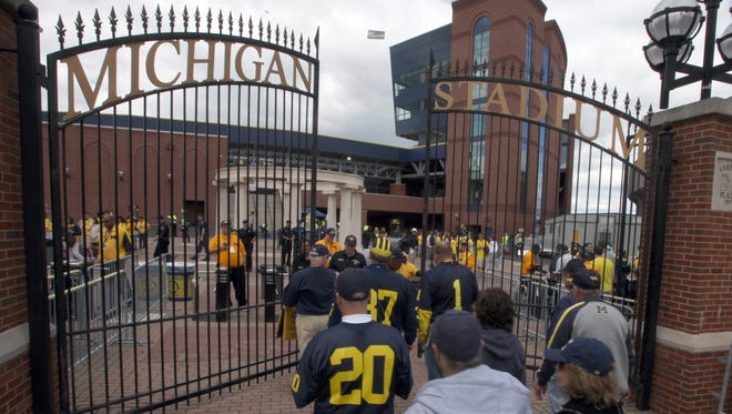 The gates to the renovated Michigan stadium open two hours before kickoff of the season opening game against Connecticut in Ann Arbor, MI on Saturday September 4, 2010. JULIAN H. GONZALEZ/Detroit Free Press