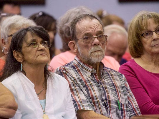 Mary Siders, left, and Bob Siders, right listen to the sentencing for Matthew and Paul Jones for the murder of their daughter, Shannon Siders, on Tuesday, July 21, 2015, in White Cloud, Mich.